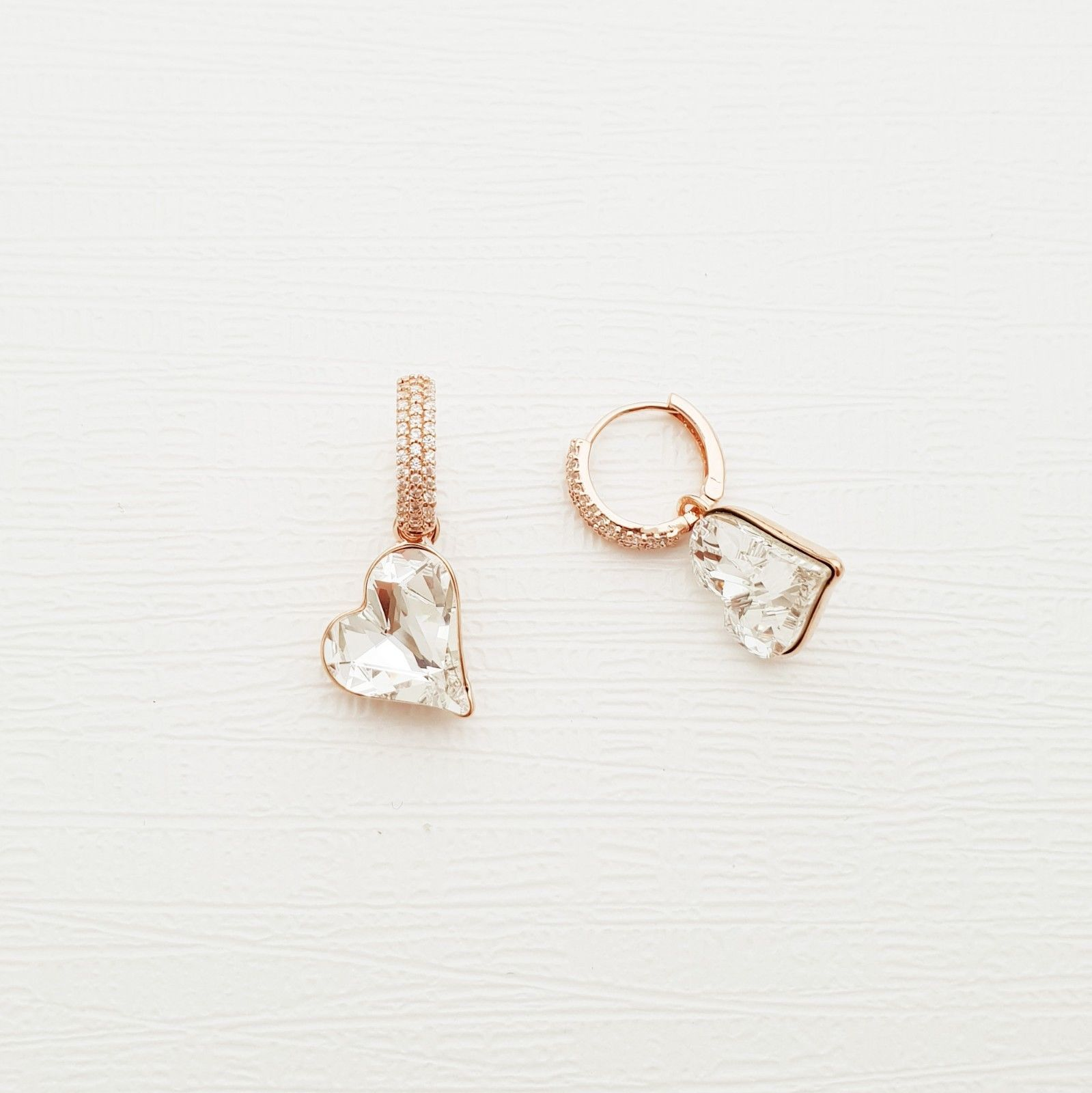 Heart Made With Swarovski Crystal Laverback Dangle Earrings Cubic Zirconia E215 image 7