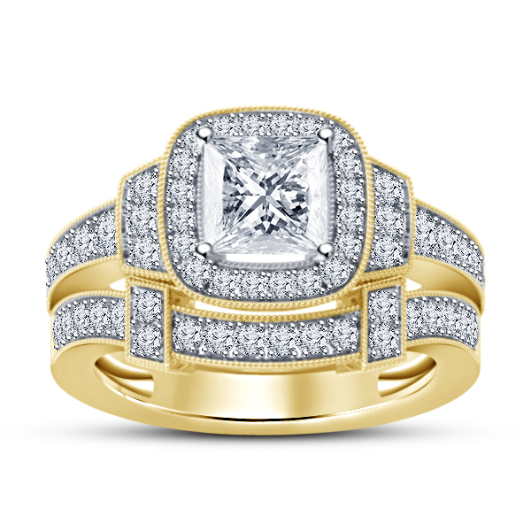 Primary image for Princess Cut Diamond Womens Wedding Bridal Ring Set 14k Gold Finish 925 Silver