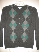 Croft & Barrow Petite PM Charcoal Teal Argyle Pattern Women Cardigan Swe... - $6.92
