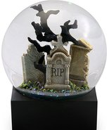 Raven in Cemetery on a Tombstone Water Globe with Crows Flying - $24.74