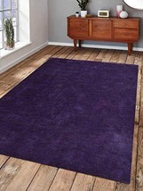 Rugsotic Carpets Hand Knotted Gabbeh Silk 10'x13' Area Rug Solid Purple ... - $517.00