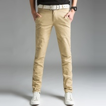 2018 Spring Thin Men's Trousers Long Slim Fit Pants Men 2018 Solid Male Casual P image 2
