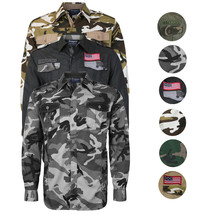 Men's US Military American Long Sleeve Button Up Camo Casual Dress Shirt
