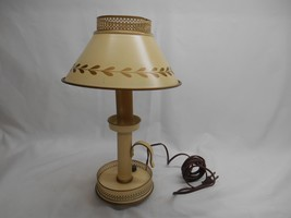 Old Vtg Mid-Century TABLE LAMP Metal Shade Home Decor Candlestick Style ... - $98.99