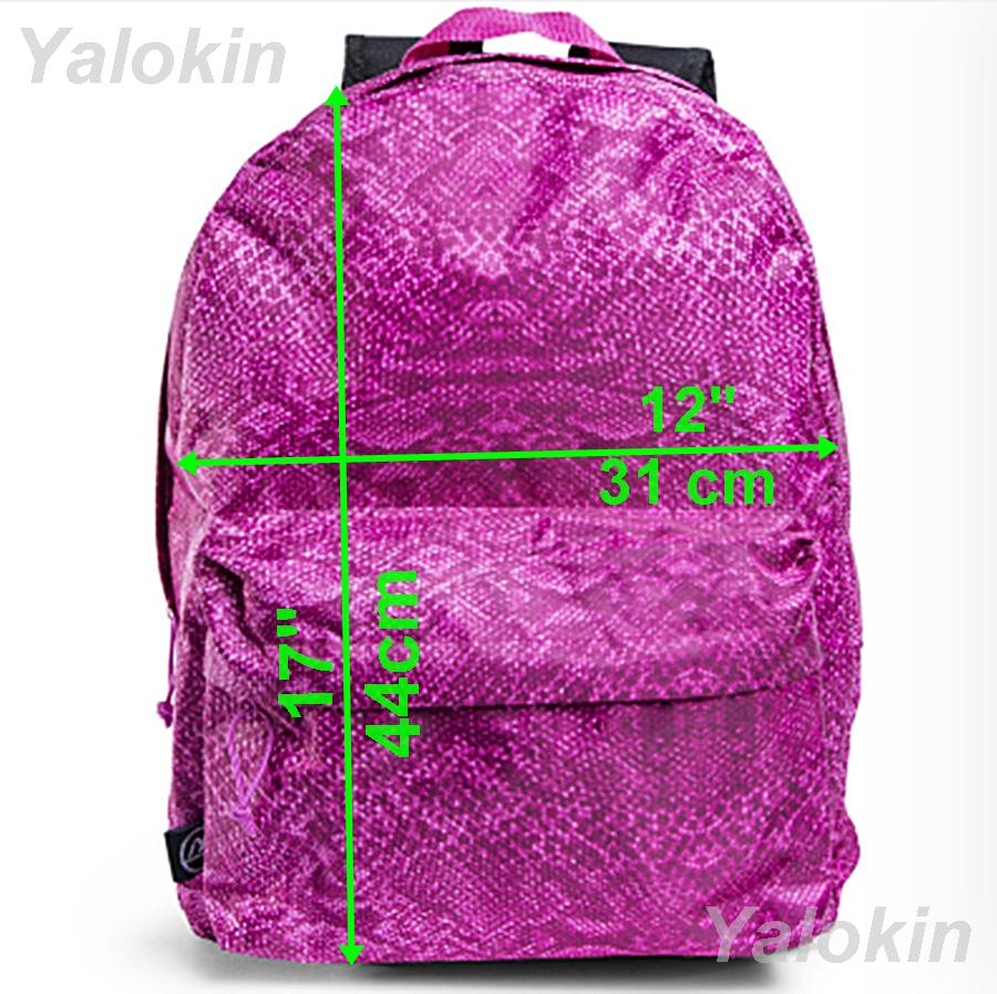NEW Pink Snake Skin Lightweight Compact Size Fashion Backpack Shoulder Book Bag