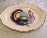 Vintage Holiday Turkey Platter ceramic white multi color large 21 x 15 inch