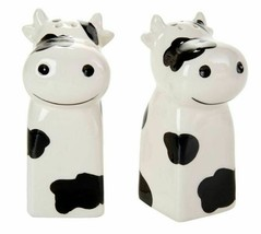 """2 pc SET of CERAMIC SALT & PEPPER SHAKERS, appr.4.5"""", 2 CHARMING COWS - £11.59 GBP"""