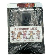 "Counted Cross Stitch Kit #54-6 VTG Janlynn 1984 AeroBEARics 12""x6"" NOS - $14.95"