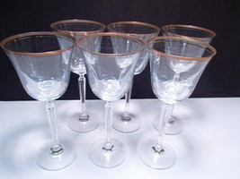 "6 Mikasa Crystal Wheaton Gold 8 1/2"" Goblets ~~~ in orig box - $52.99"