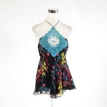 Black blue floral print 100% silk SAMANTHA TREACY halter neck blouse 6 - $24.99
