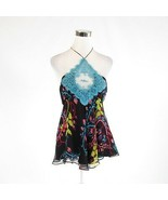 Black blue floral print 100% silk SAMANTHA TREACY halter neck blouse 6 - $24.99