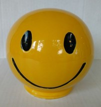 Vintage 1971 McCoy Pottery Smiley Face Bank Yellow Black Retro Made in USA - $18.69