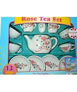 New Rose Tea Set Box Child's Play 13 Piece - $16.71