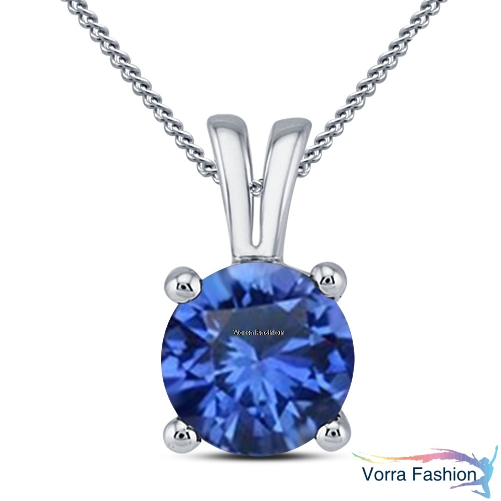 Blue Sapphire Daily Wear Solitaire Pendant Necklace White Gold Plated 925 Silver