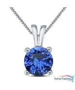 Blue Sapphire Daily Wear Solitaire Pendant Necklace White Gold Plated 92... - $35.89