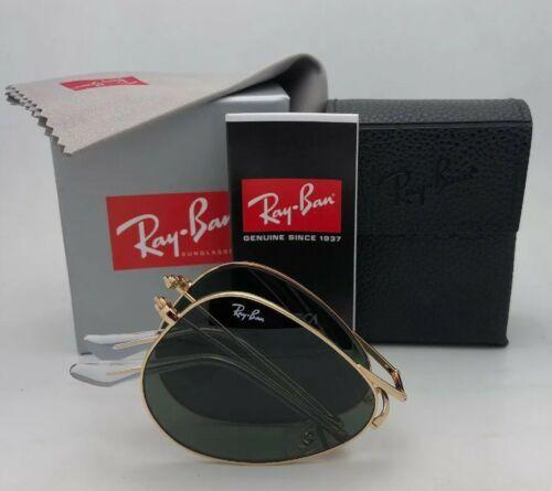 Ray-Ban Pliage Lunettes de Soleil Aviateur RB 3479 001 58-14 or G-15 Verre Vert