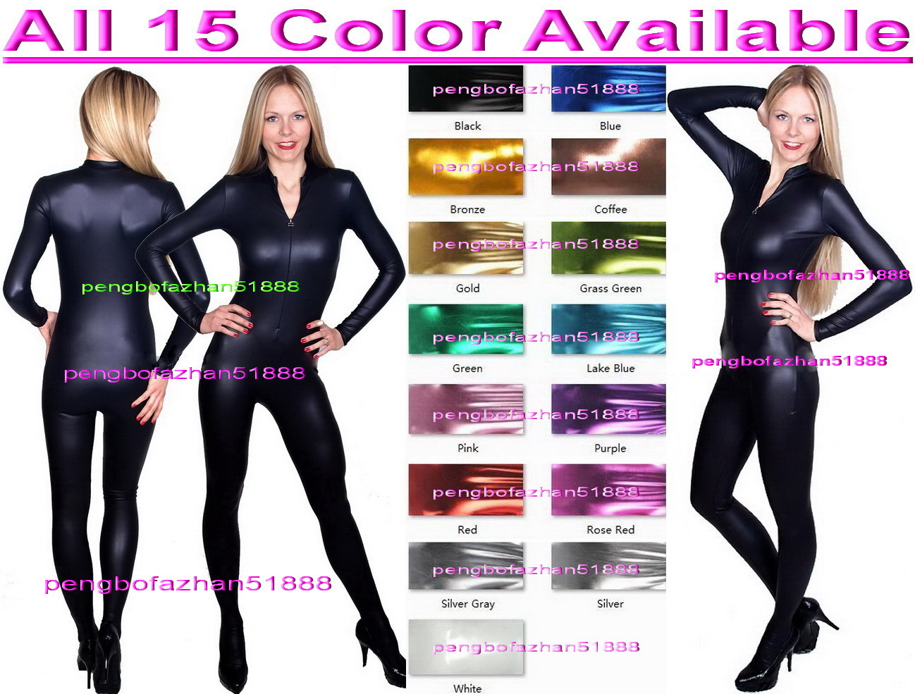 c2681897924 Sexy Front Zip Body Suit 15 Color Shiny and 50 similar items