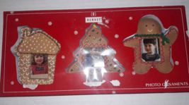Burnes Set of 3 Gingerbread Cookie Photo  Ornaments in Box New House Tre... - $4.36