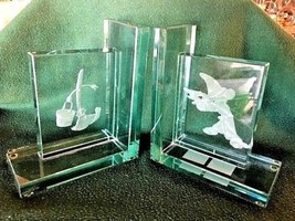 Extremely Rare! Walt Disney Mickey Mouse Fantasia Glass Bookends LE of 500 Set - $495.00