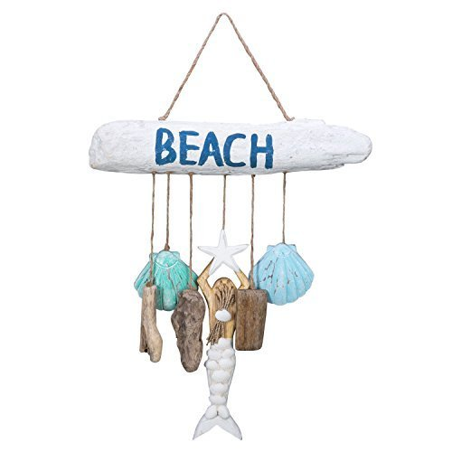 Beach-Driftwood with Mermaid and 6 Dangles Wood Wall Plaque