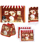 RED WINE FAT CHEF KITCHEN LINEN SET 10pc Placemats Towels Potholders Clo... - $24.99