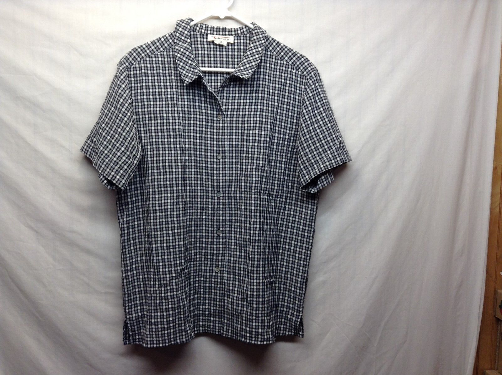 Talbots Black Gray White Short Sleeve Button Up Collared Blouse Sz M