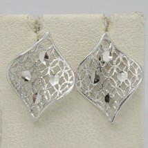 SOLID 18K WHITE GOLD PENDANT EARRINGS FINELY WORKED ONDULATE LEAF MADE IN ITALY image 1