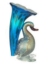 "10.25"" Aqua, Blue, and Gold Duck Lily Favrile Hand Crafted Glass Accent ... - $130.67"