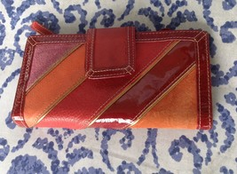 Fossil red pink gold leather clutch wallet - $12.50