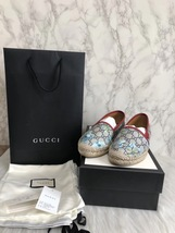 100% Authentic GUCCI MONOGRAM Slip On Logo Espadrilles Shoes Flats 37