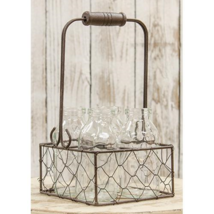 "New 4 Glass Bottles in Wire Basket Farmhouse Country Decor 8.5"" H x 5.5"" W - $26.95"