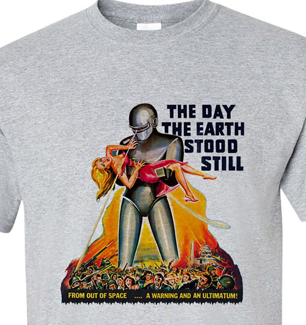 The Day The Earth Stood Still T-shirt retro vintage Sci Fi movie film gray tee