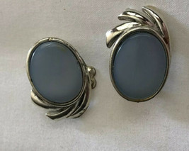 Vintage Coro Earrings  Clip On Baby Blue Moonstone ? Circles Silver  Tone - $32.62