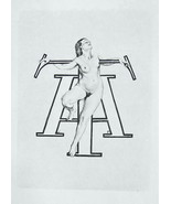 NUDE EX LIBRIS Woman Standing Holding onto Initials MT - 1922 Lichtdruck... - $16.20