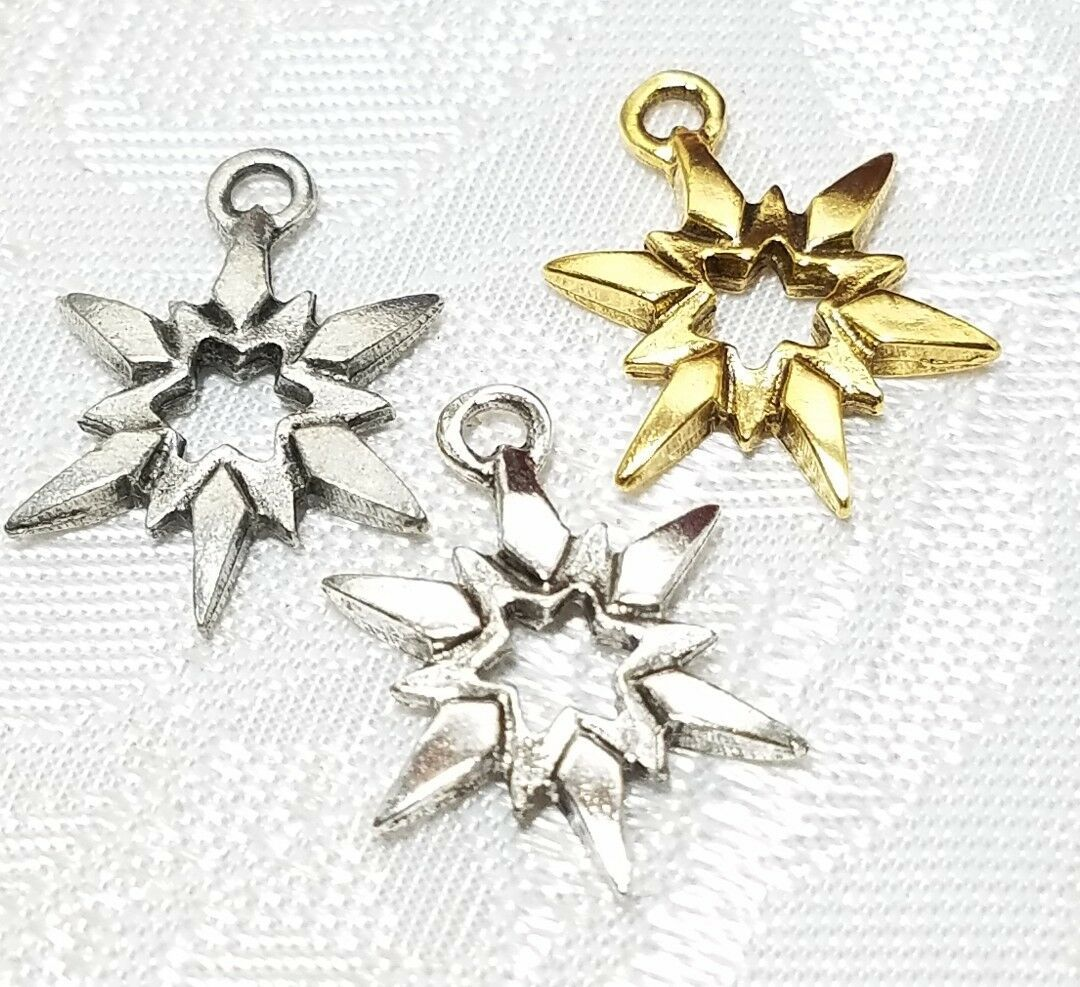STAR FLAKE FINE PEWTER PENDANT CHARM  - 2x20x13mm