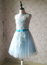 Girl Light Blue Flower Lace Dress High Waist Flower Girl Party Dress Birthday  image 5
