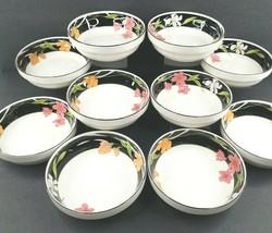 "10 Sango Memories Cereal Soup Bowls Set 3665 Vintage 6.5"" Black Band Flo... - $128.57"