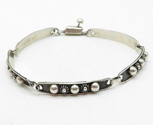 925 Silver - Vintage Petite Floral Bead Pattern Bar Link Chain Bracelet - B4820