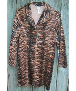 Animal Print Lightweight Polyester Princess Style Velvet Coat 60-70's Vi... - $23.00