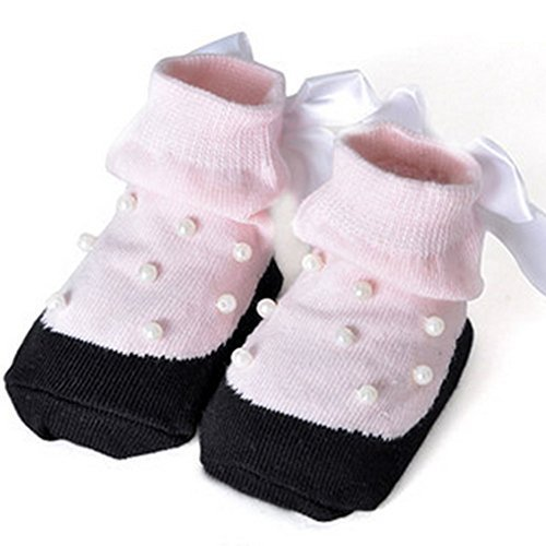 Baby Socks Lovely Cotton Summer Infant Socks 0-12 Months(Pink With Beads)