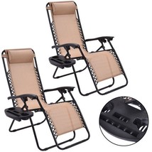 Zero Gravity Chairs Case Of (2) Beige Lounge Patio Chairs Outdoor Yard B... - $89.09