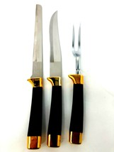Regent Sheffield England Carving 3 pc Set Hollow Ground Stainless  Black... - $28.49