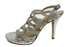 Nina women's heels evening sandals shoes silver metallic ankle straps si... - $21.66
