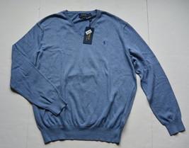 Polo Ralph Lauren Pima Cotton Sweater L V-Neck Mens Blue NWT - $49.95