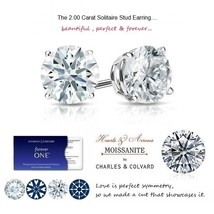 14K 2.00 Carat Forever One Hearts & Arrows Solitaire Earrings (Charles&Colvard)