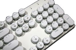 Abko Hacker K840 English Korean Blue Switch Wired Gaming Retro Keyboard (White) image 5