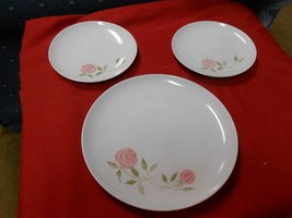 "Great  Vintage FRANCISCAN Whitestone ""Pink-A-Dilly"" 3 PLATES-2 Bread-1 D... - $9.41"