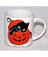 Halloween Black Cat Orange Pumpkin Mug Jack O Lantern CMC 1986 Coffee Decor - $19.79