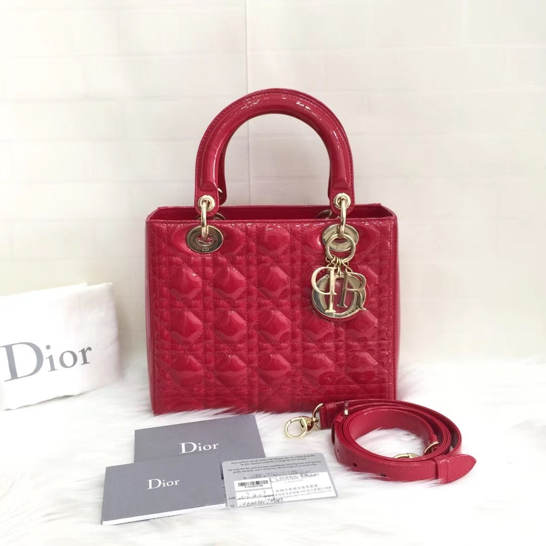 Authentic Christian Dior 2017 Lady Dior Medium Red Patent Shoulder Tote Bag GHW