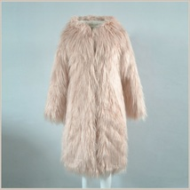 Pink Hooded Fluffy long Hair Angora Goat Faux Fur Long Trench Coat Jacket image 2